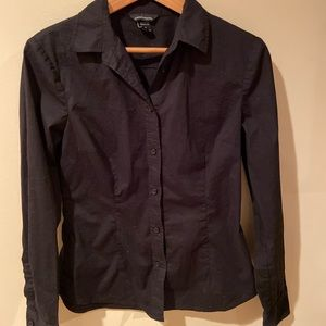Black fitted button down shirt